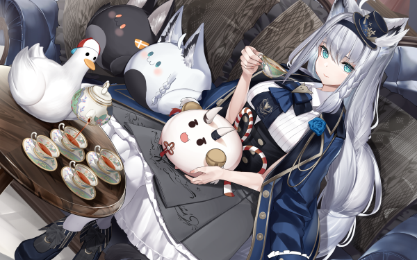 Anime Virtual Youtuber Shirakami Fubuki HD Wallpaper | Background Image