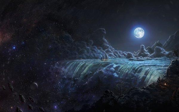 Fantaisie Waterfall Nuage Lune Navire Fond d'écran HD | Image
