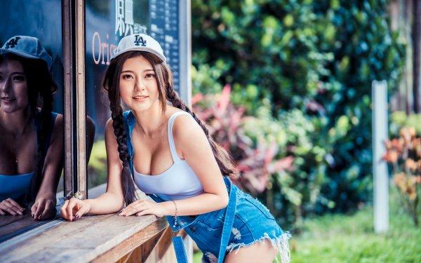 Women Asian Model Brunette Braid Reflection Depth Of Field Cap HD Wallpaper | Background Image