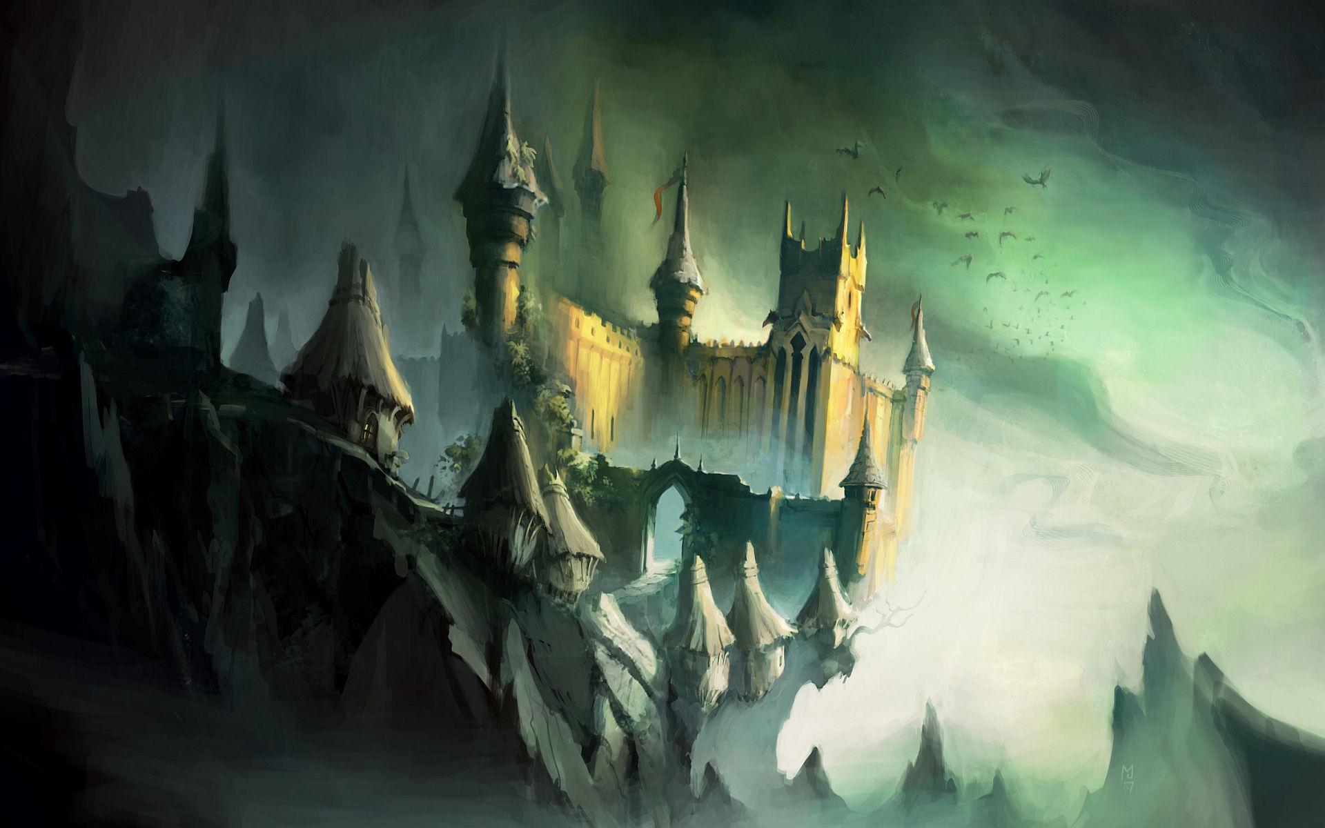 Fantasy - Slott  Stad Bakgrund