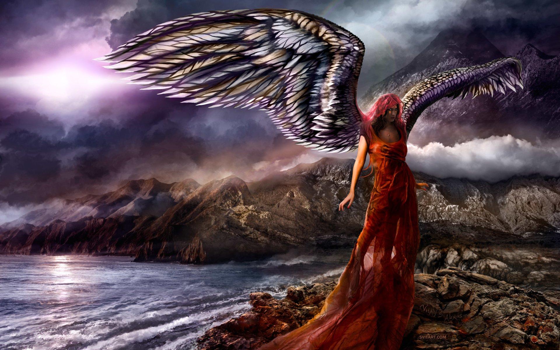 Fantasy - Angel  Landscape Fantasy Red Hair Wallpaper