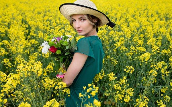 Women Model Models Woman Hat Rapeseed Flower HD Wallpaper   Background Image