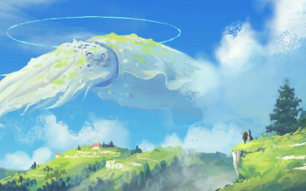 Anime Landscape Squid Sky HD Wallpaper   Background Image