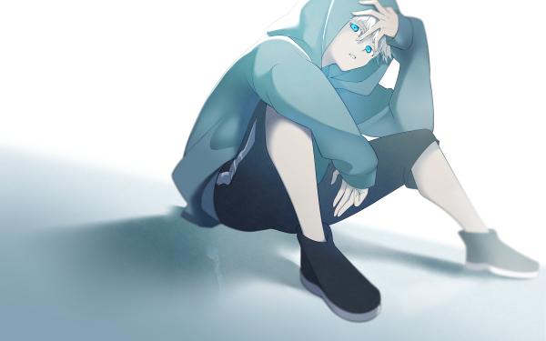 Anime Jujutsu Kaisen Satoru Gojo White Hair Blue Eyes Hoodie HD Wallpaper   Background Image