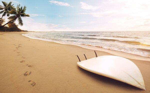 Photography Beach Sand Summer Surfboard Ocean Horizon HD Wallpaper   Background Image