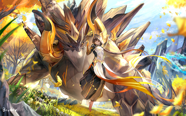 Video Game Genshin Impact Zhongli Azhdaha Rex Lapis HD Wallpaper | Background Image