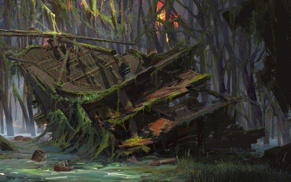 Fantasy Ship Shipwreck HD Wallpaper   Background Image