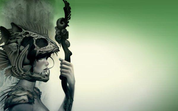 Fantasy Women Bones Helmet Warrior Fish Staff Green Simple HD Wallpaper | Background Image