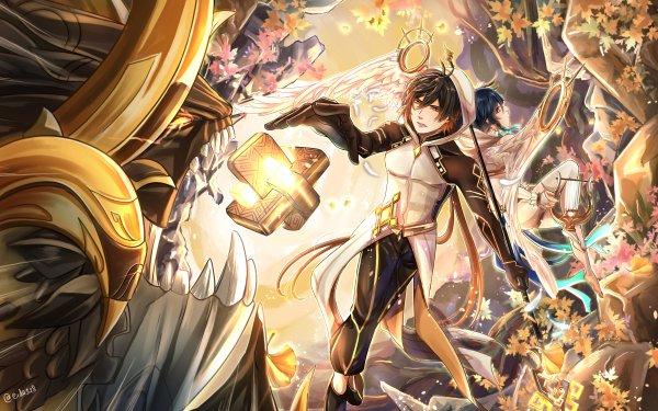 Video Game Genshin Impact Rex Lapis Zhongli Azhdaha Venti HD Wallpaper | Background Image