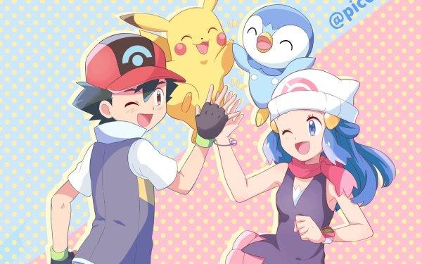 Anime Pokémon Ash Ketchum Dawn Pikachu Piplup Fondo de pantalla HD | Fondo de Escritorio