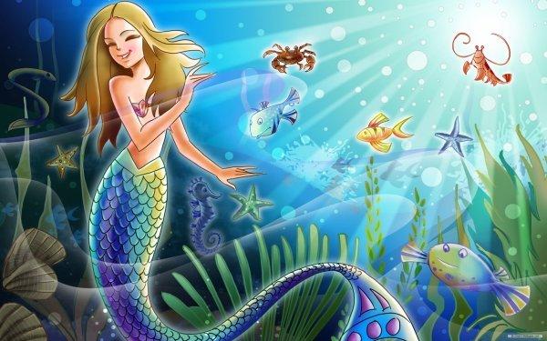 Fantasy Mermaid Crab Fish Starfish Underwater Lobster HD Wallpaper | Background Image