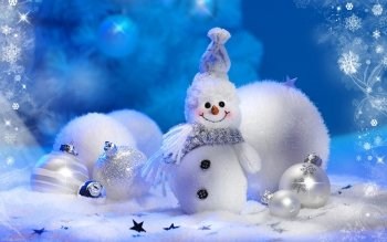 Holiday Christmas Christmas Ornaments Snowman HD Wallpaper | Background Image