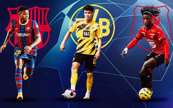 Sports Soccer Ansu Fati FC Barcelona Eduardo Camavinga Borussia Dortmund HD Wallpaper | Background Image
