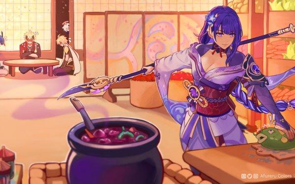 Videospel Genshin Impact Aether Kujou Sara Paimon Baal Raiden Shogun Thoma HD Wallpaper | Achtergrond