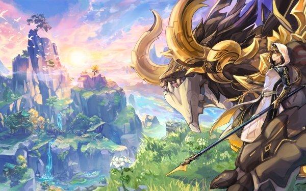 Video Game Genshin Impact Rex Lapis Zhongli Azhdaha HD Wallpaper | Background Image