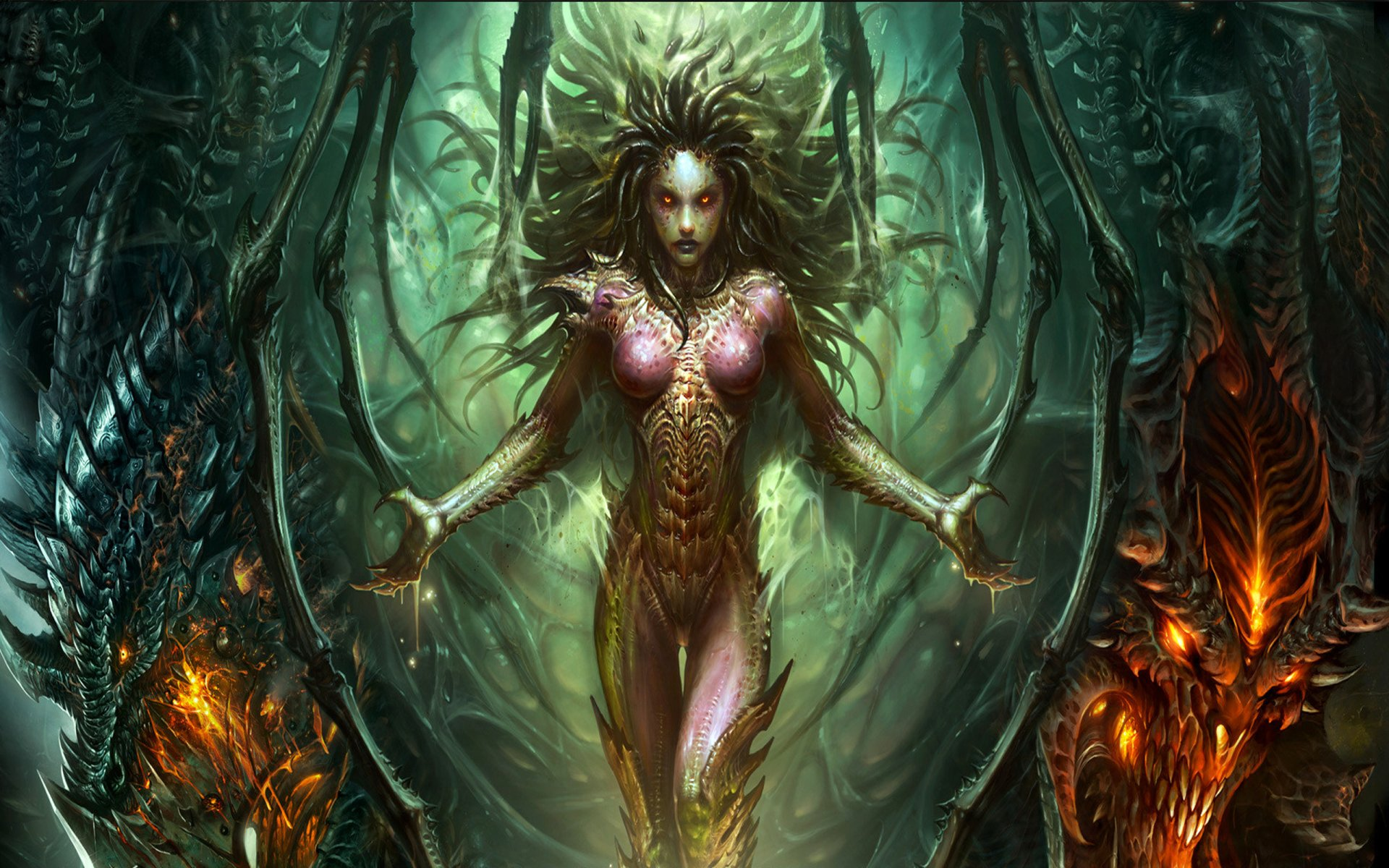 Video Game - Collage  Sarah Kerrigan Queen Of Blades Bakgrund