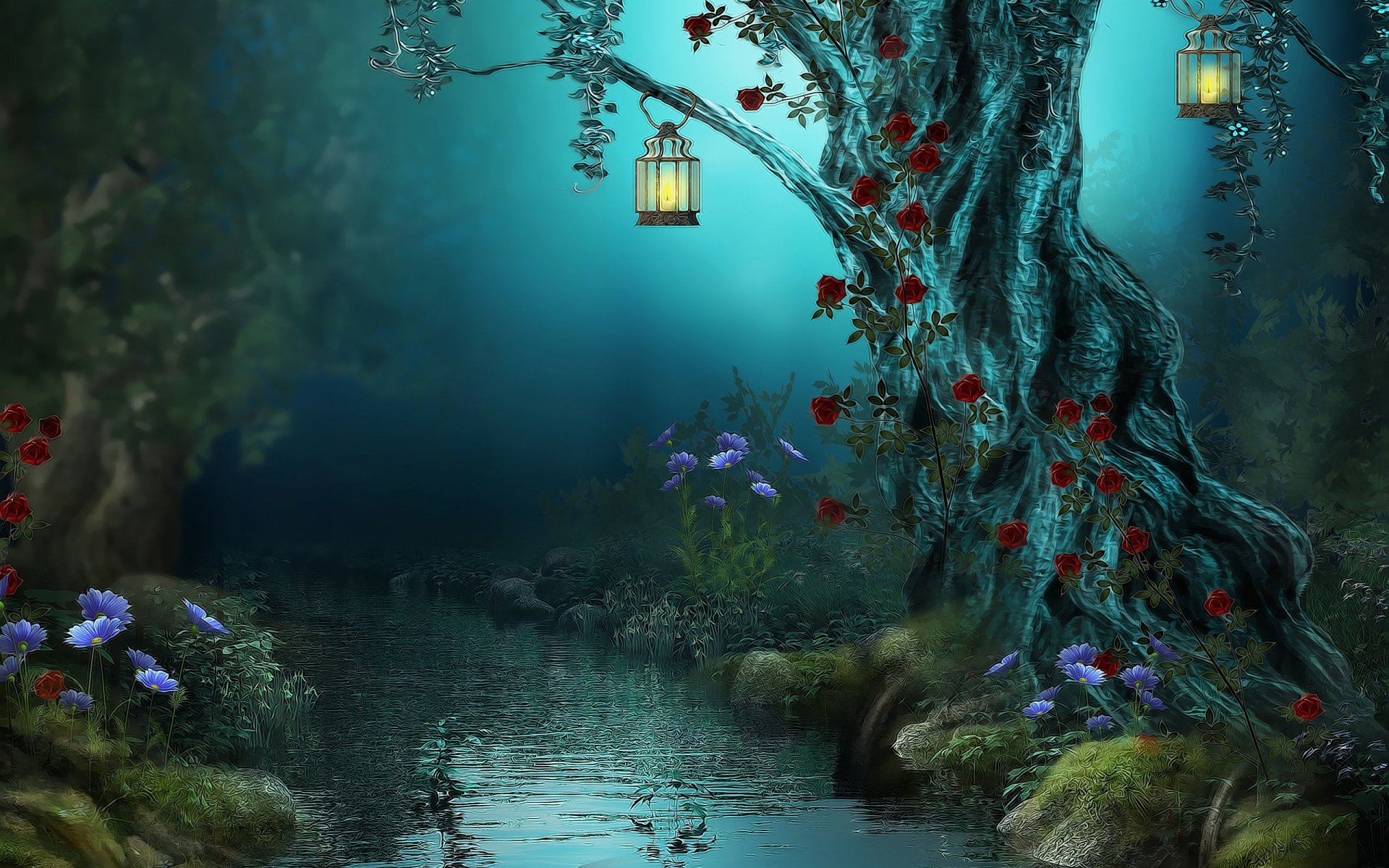 Fantasy - Artistic  Forest Magic River Wallpaper