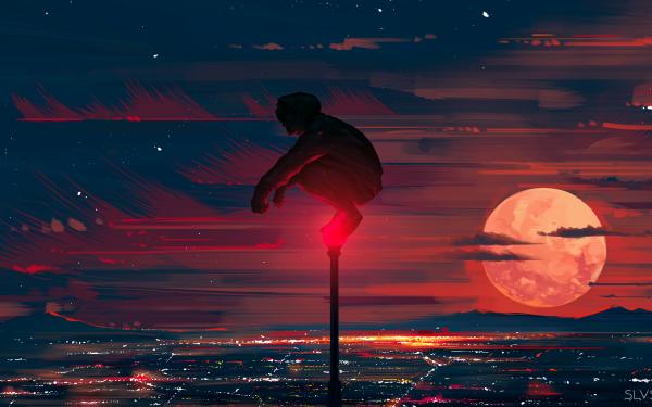 Anime Boy Moon Cityscape HD Wallpaper | Background Image