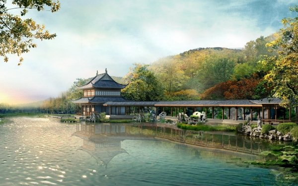 Artistic Building Buildings Chinese Monastery HD Wallpaper | Background Image