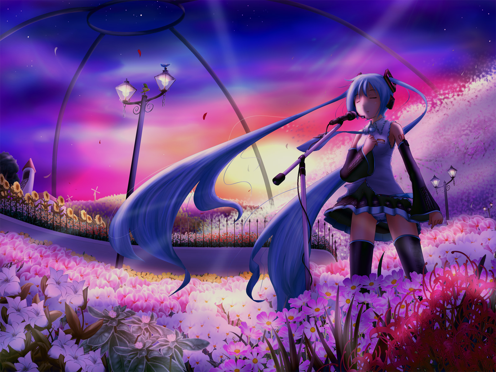 Anime - Vocaloid  - Hatsune - Miku - Miku Hatsune - Flowers Wallpaper