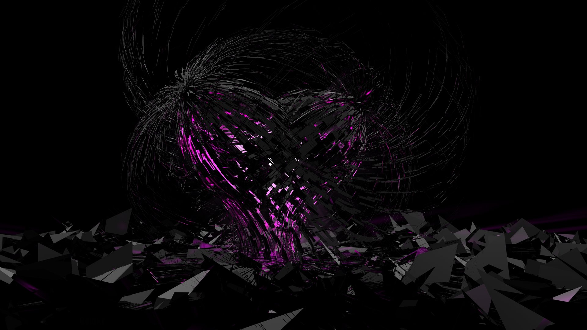 Artistic - Abstract  3D Digital Art CGI Heart Dark Black Purple Wallpaper