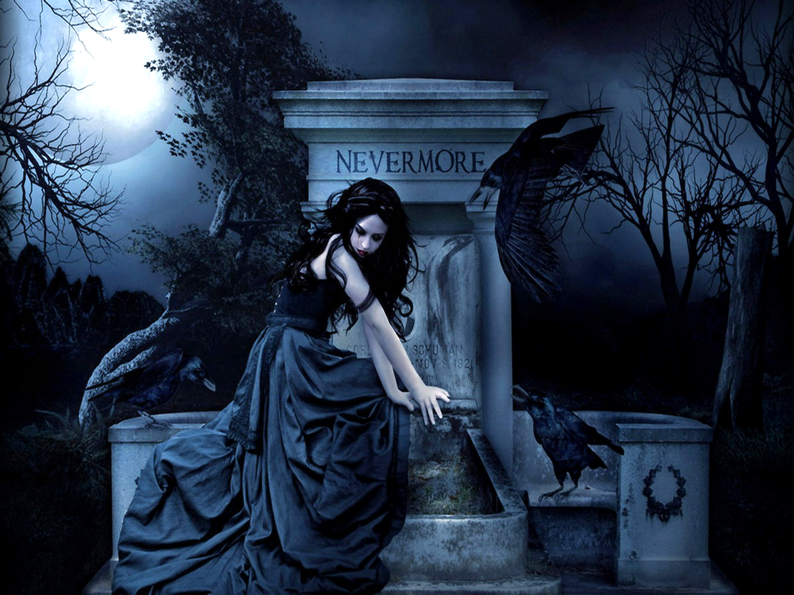 Dark - Gothic  - Nevermore - Tomb Wallpaper