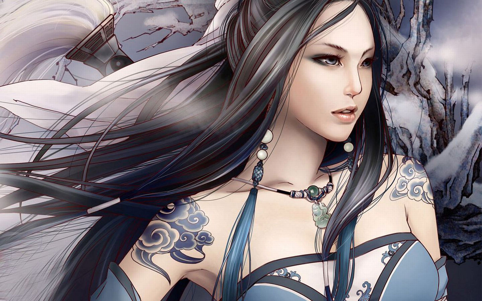 Fantasy - Tattoo  - Chaos - Dark - Wind - Girl - Asian - Blue Wallpaper