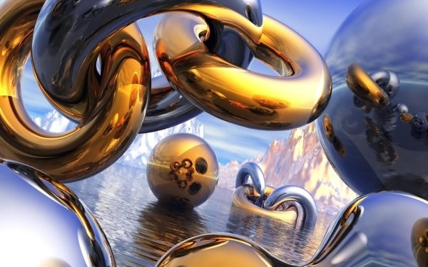 Abstract 3D CGI Gold Water Sphere Metal HD Wallpaper | Background Image