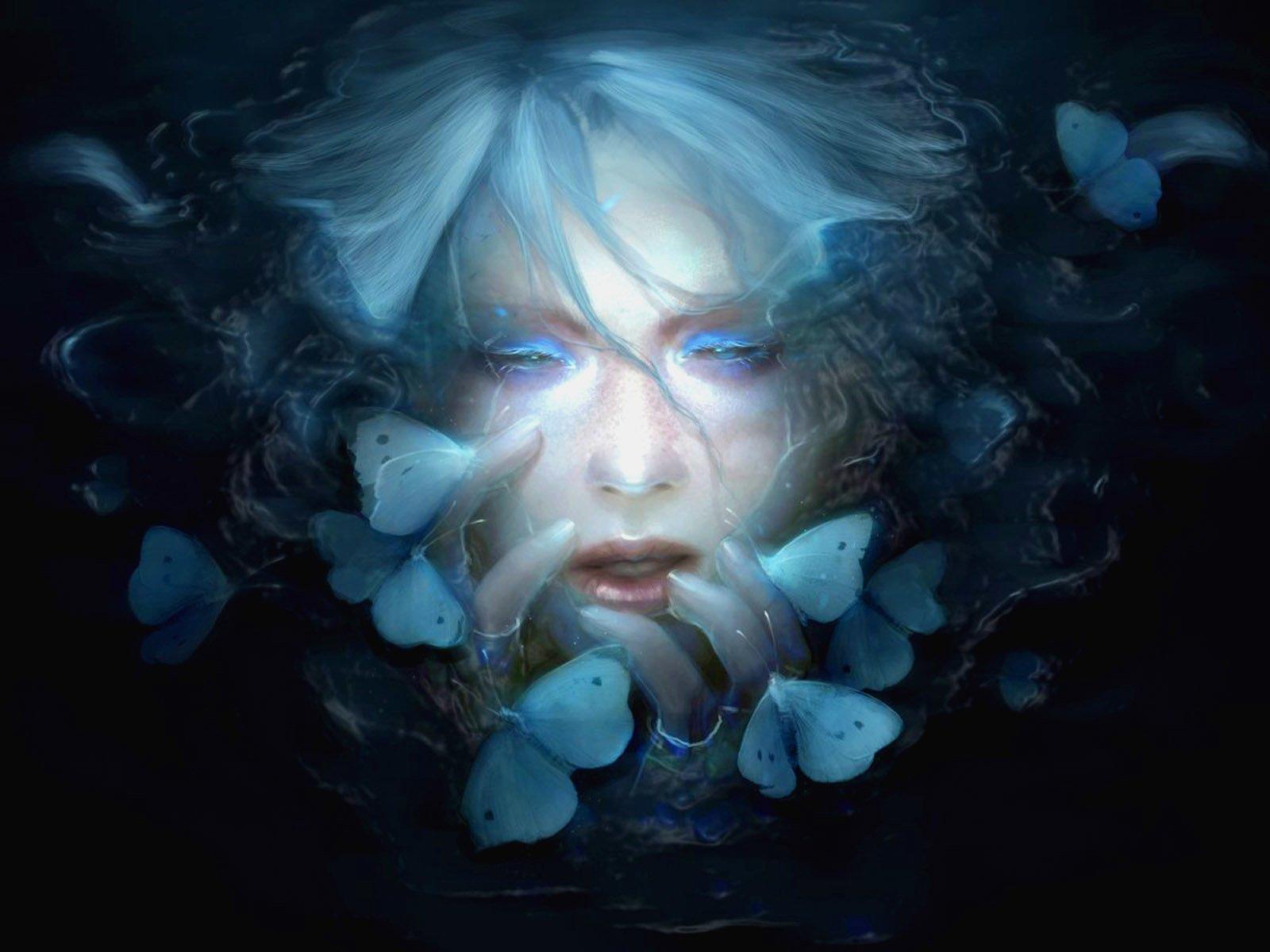 Fantasía - Oscuro  Fantasía Mariposa Cara Fondo de Pantalla