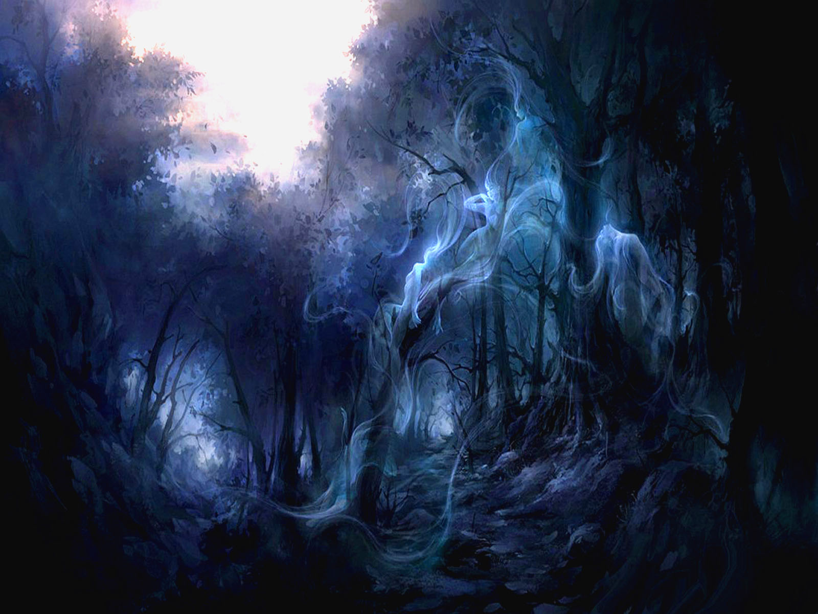 Dark - Ghost  Dragon Spirit Forest Dark Gothic Smoke Wallpaper
