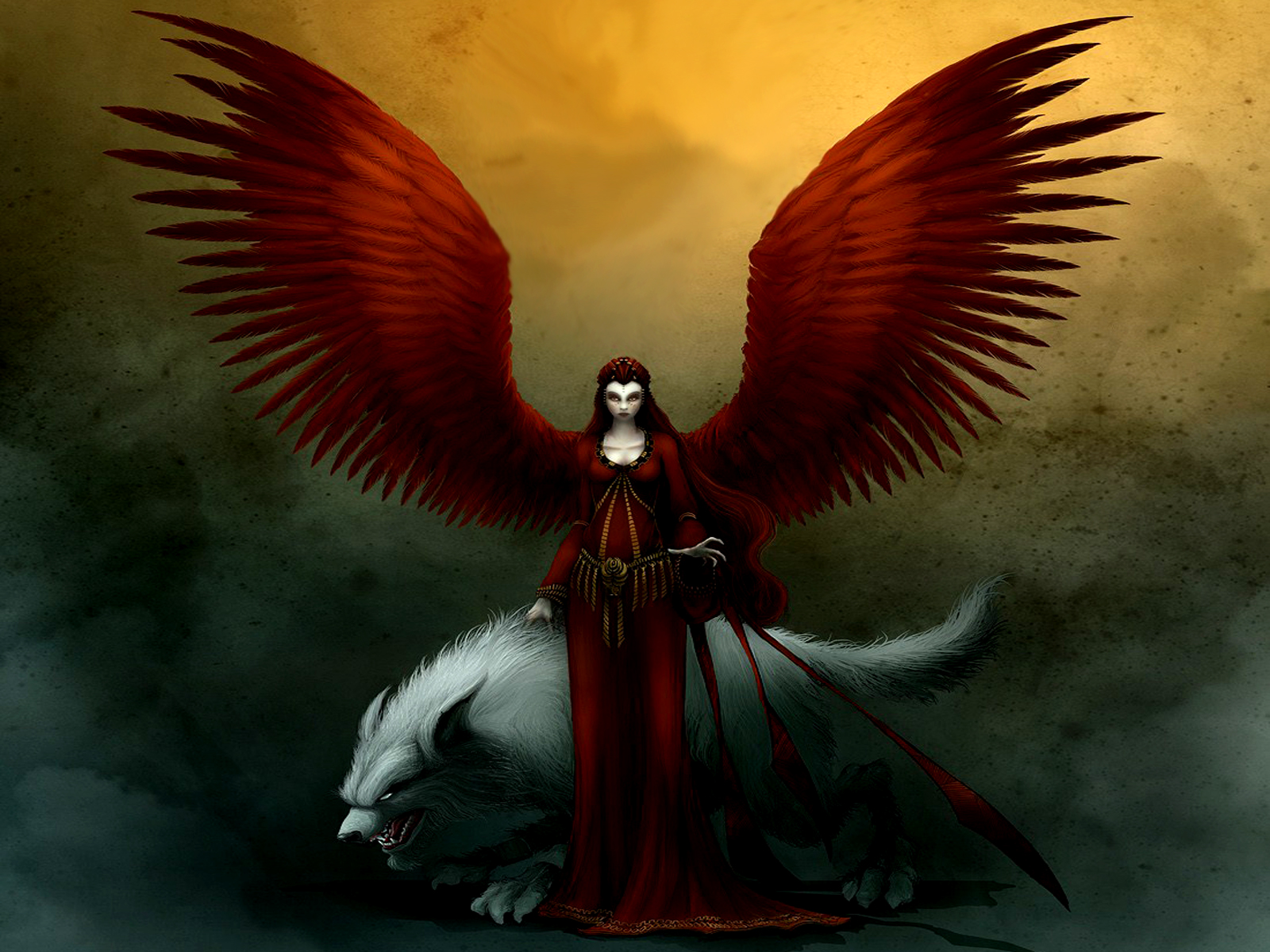 Dark - Angel  - Mythical - Red - Dark - Wings - Evil - Women  Wallpaper
