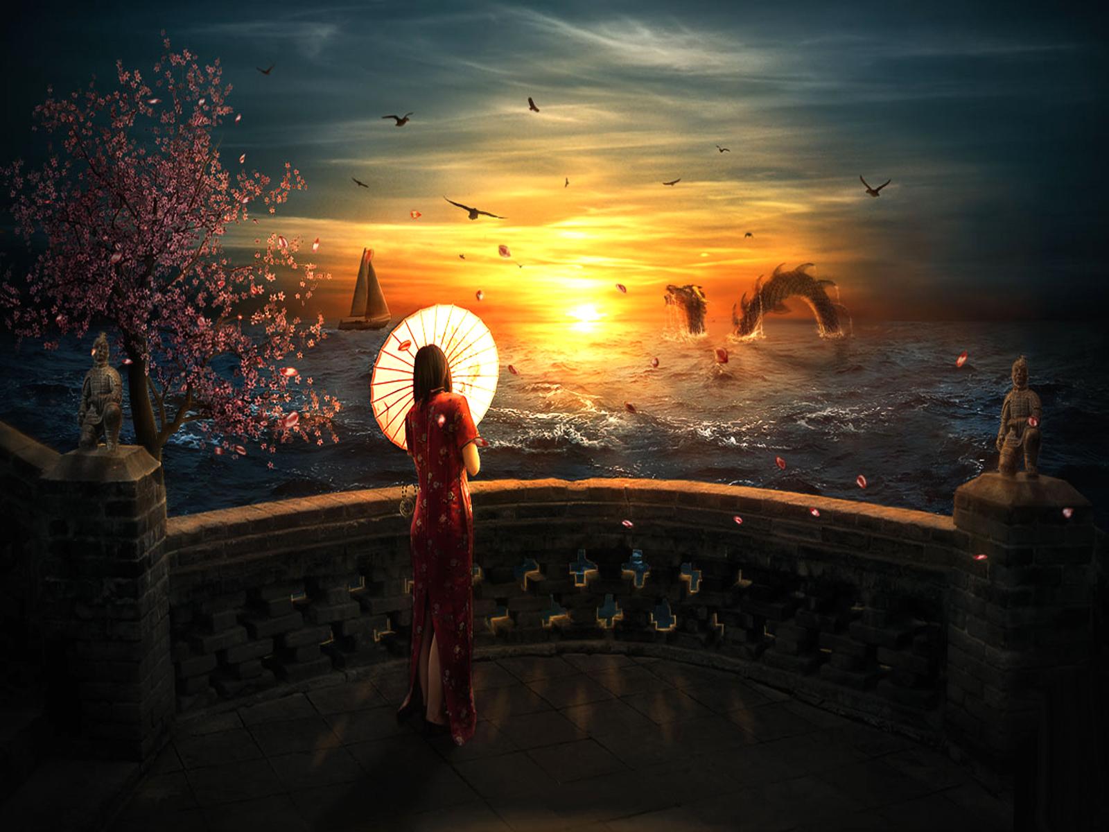 Fantasy - Drachen  Sonnenuntergang Wallpaper