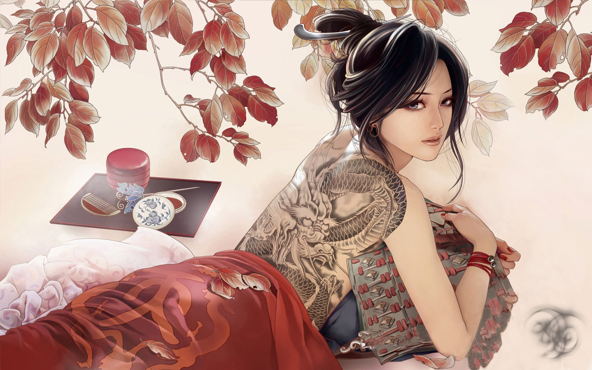Fantasy - Tattoo  Chinese Dragon Tea Fantasy Woman Red Wallpaper