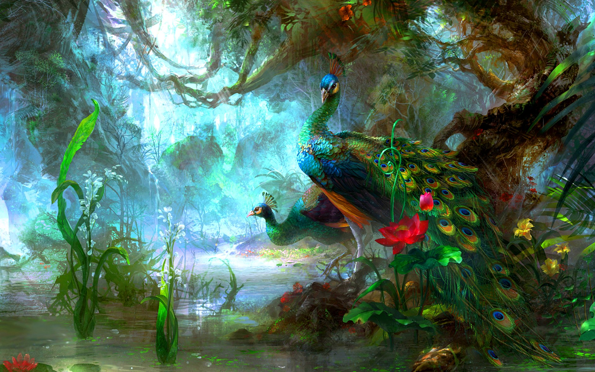 Animal - Peacock  Peafowl Colors Colorful Tree Flower Water Artistic Bird Forest Magical Green Wallpaper