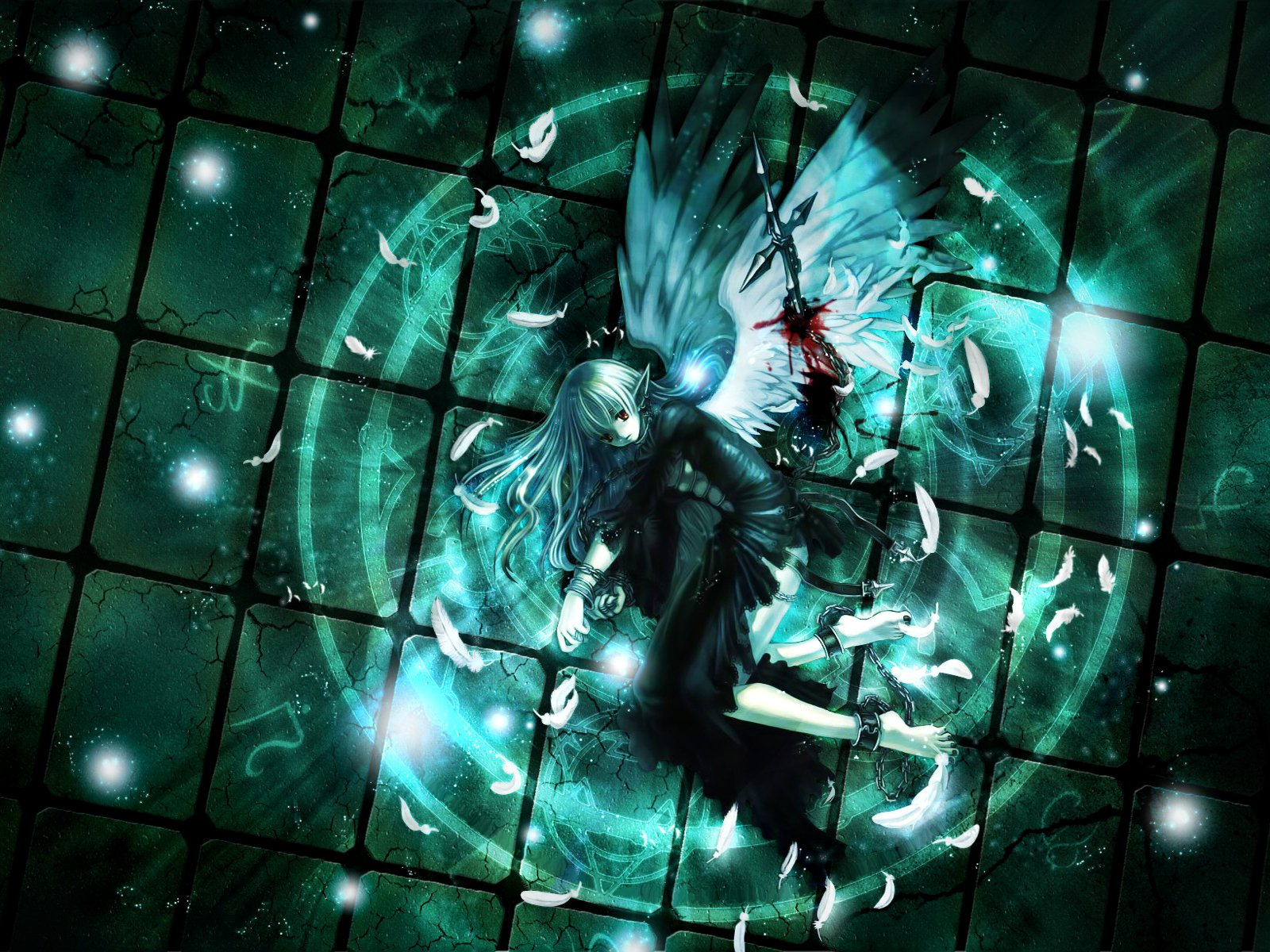 Anime - Original  Oscuro Pluma Wings Fallen Angel Anime Original (Anime) Chica White Hair Red Eyes Fondo de Pantalla