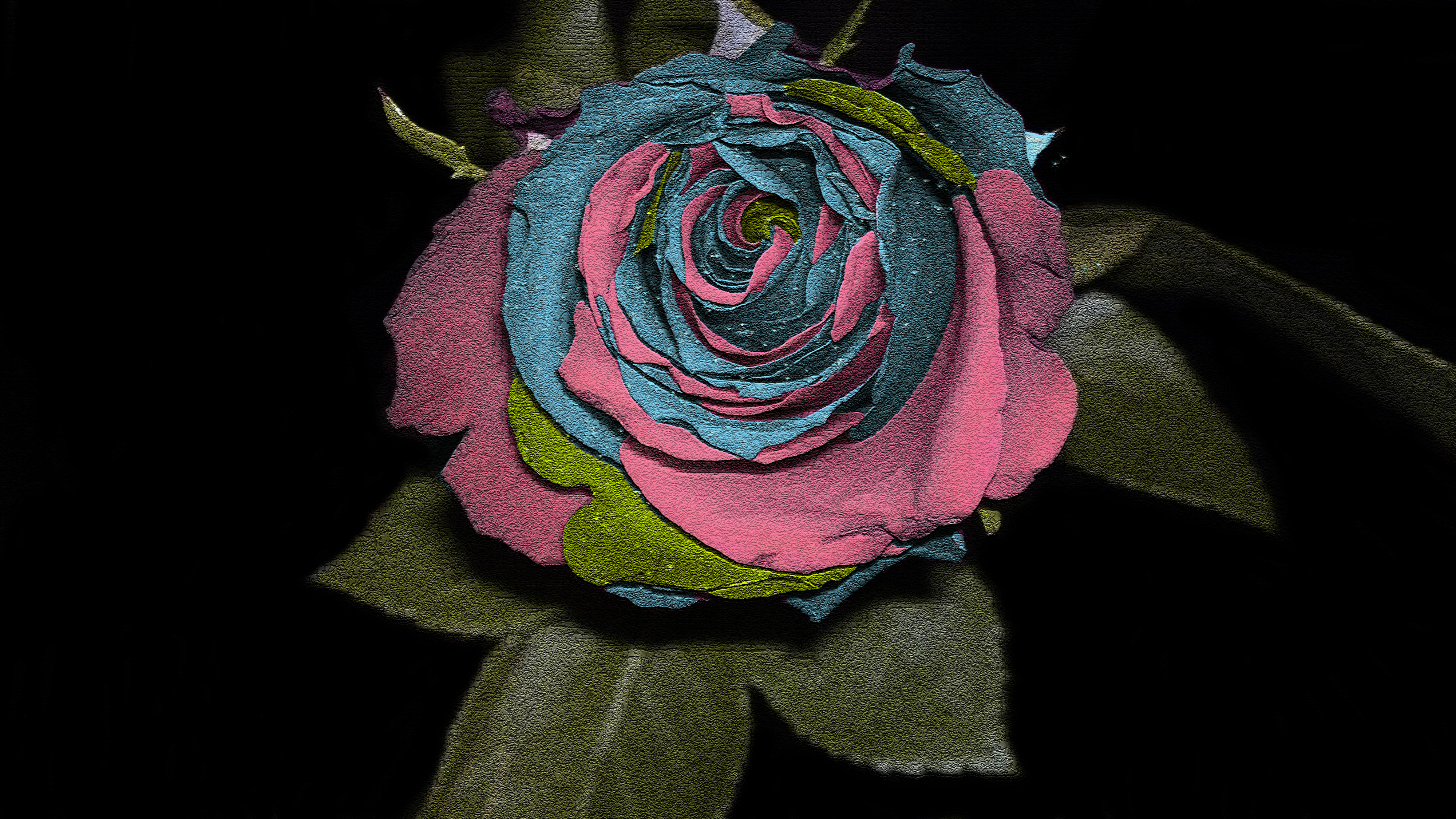 Earth - Rose  Blue Colors Photography Pink Dark Green Leaf Flower Red Artistic Wallpaper