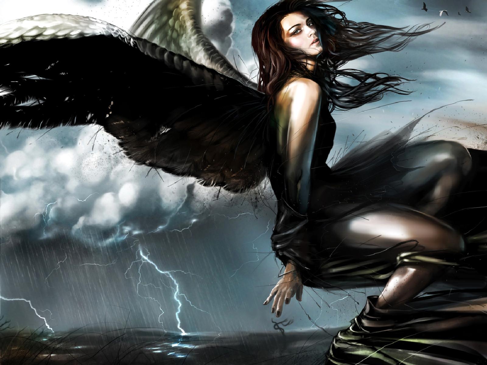 Mörk - Ängel  Woman Bakgrund