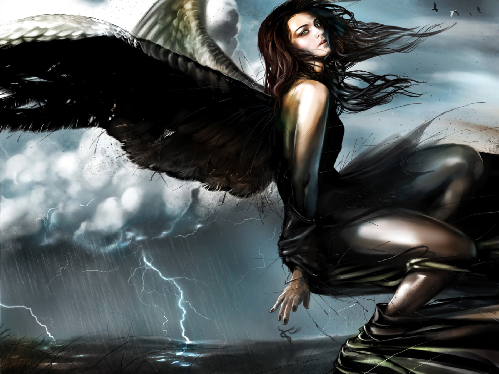 Обои Фантастика, крылья, ангел, fantasy, девушка. обои 1280x960