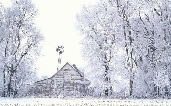 Tierra/Naturaleza Invierno Granja Snow Árbol Fondo de pantalla HD | Fondo de Escritorio
