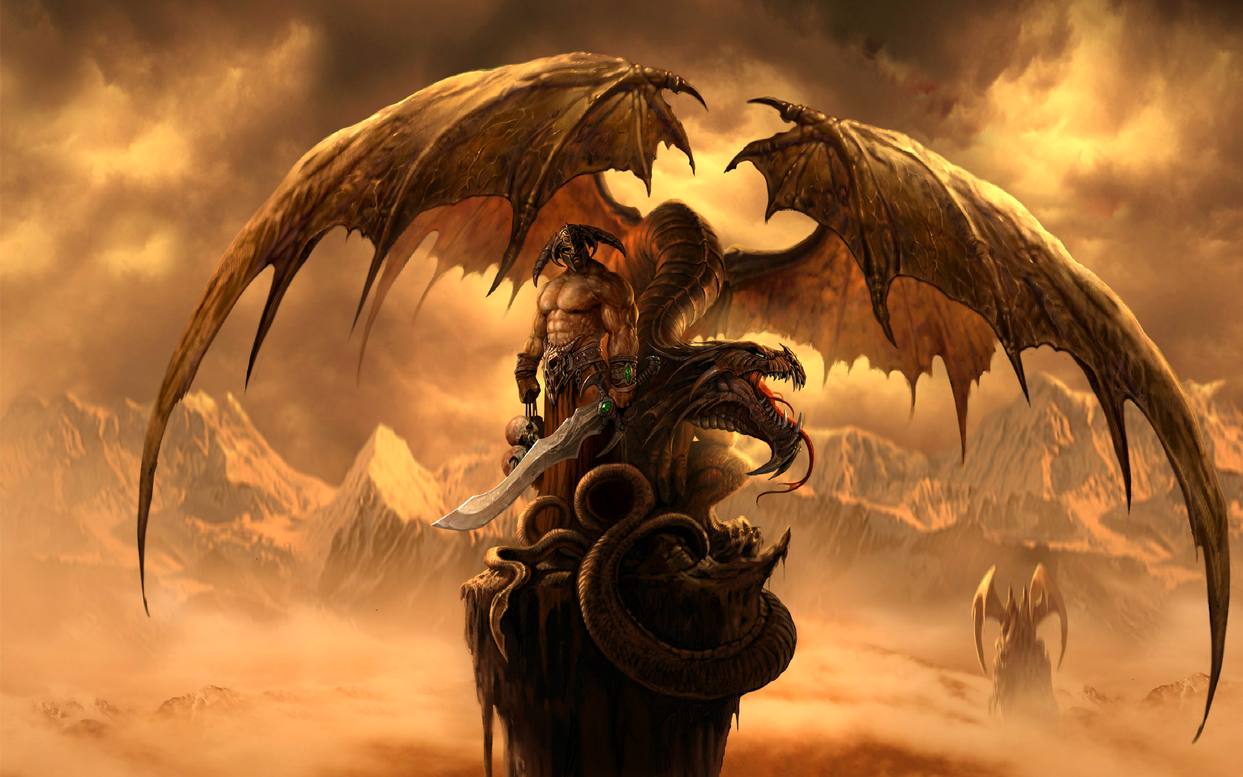Fantasy - Drake  Warrior Fantasy Sword Bakgrund