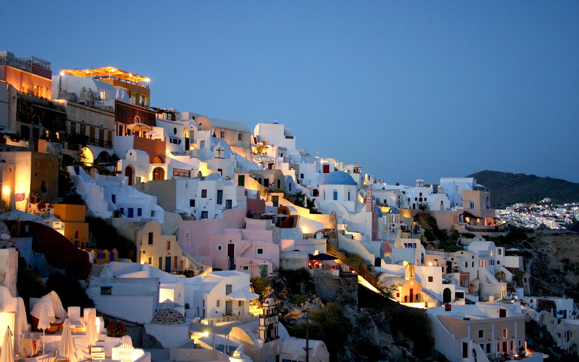 Construction Humaine - Santorini  Grèce Fond d'écran