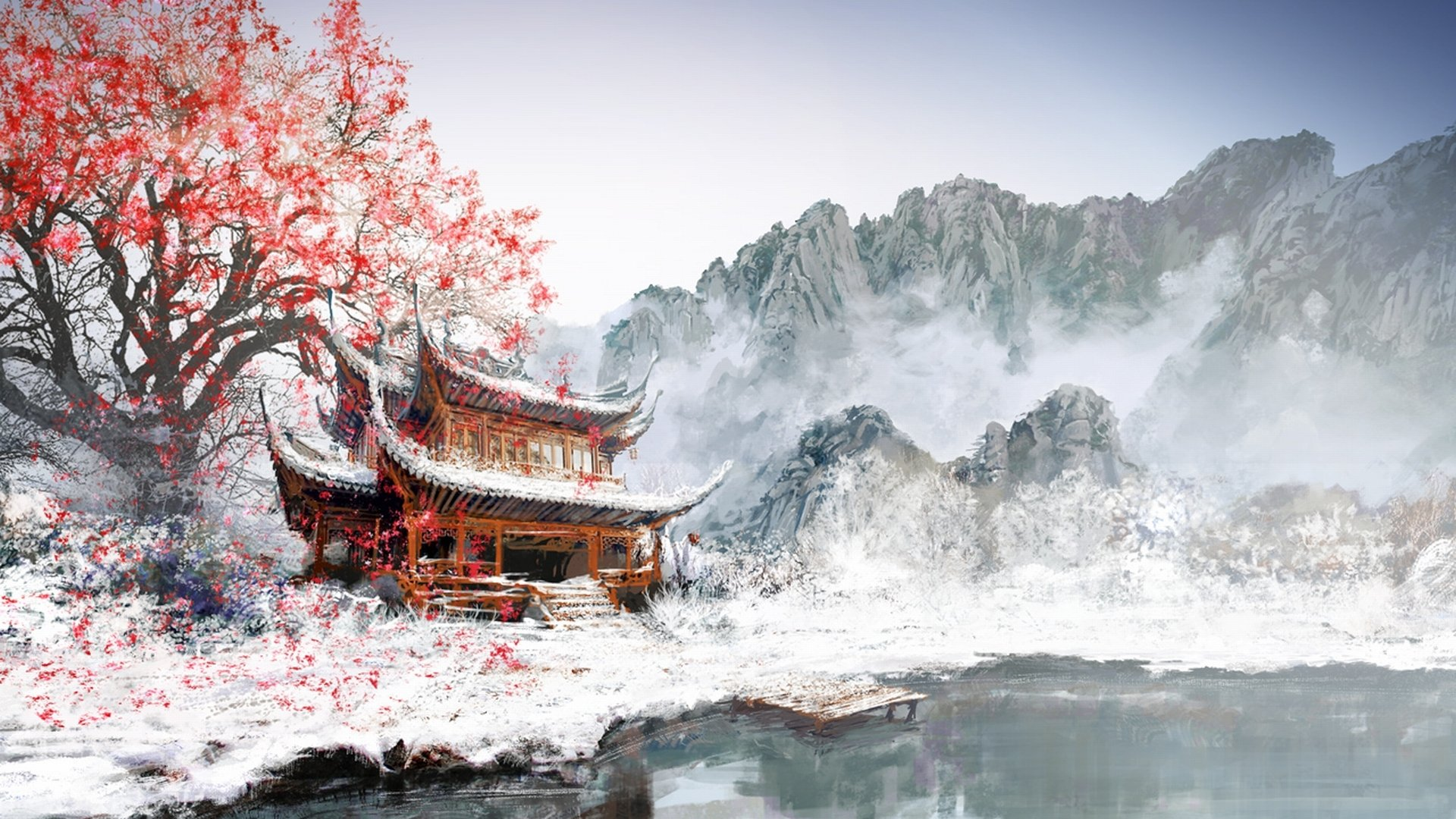 Fantasy - Landscape  Winter Sakura Blossom Wallpaper