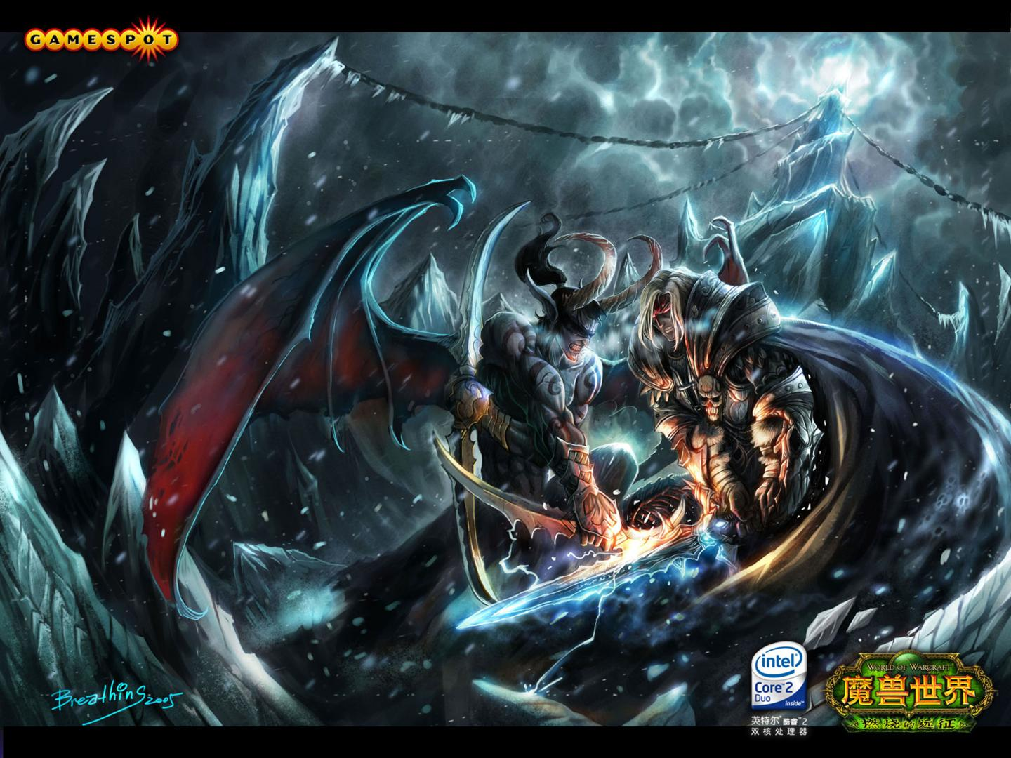 Video Game - World Of Warcraft  Ilidan Arthas Menethil Fight Wallpaper