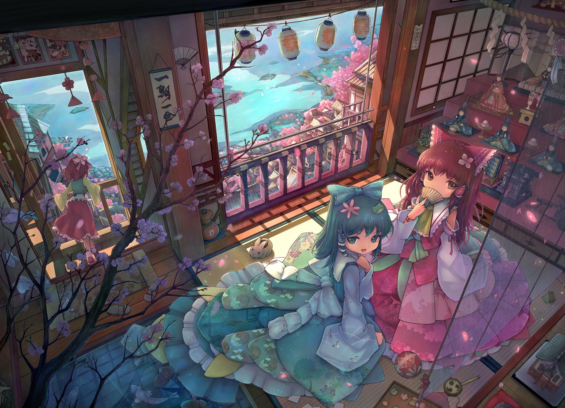 Anime - Touhou  Sanae Kochiya Reimu Hakurei Wallpaper