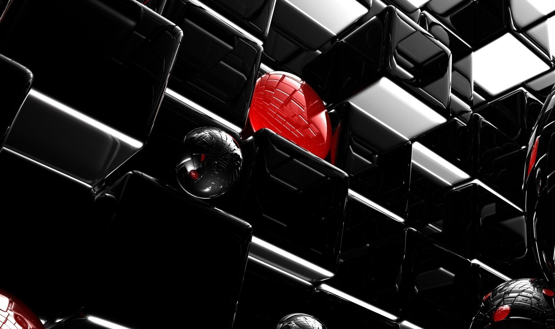 Компьютерная Графика - 3D  Чёрный Цифровое Искусство Куб Тьма Абстрактные Красный Обои