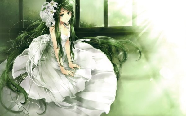 Anime Original Dress Chica Novia Wedding Green Hair Green Eyes Fondo de pantalla HD | Fondo de Escritorio