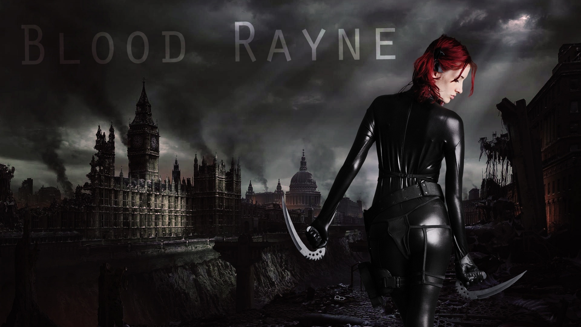 Celebrity - Susan Coffey  - Hot - Cute - Photography - Eyes - Hair - Movie - Bloodrayne - Weapon - Latex - Thong - Hellgate - London - Model - Video Game Wallpaper
