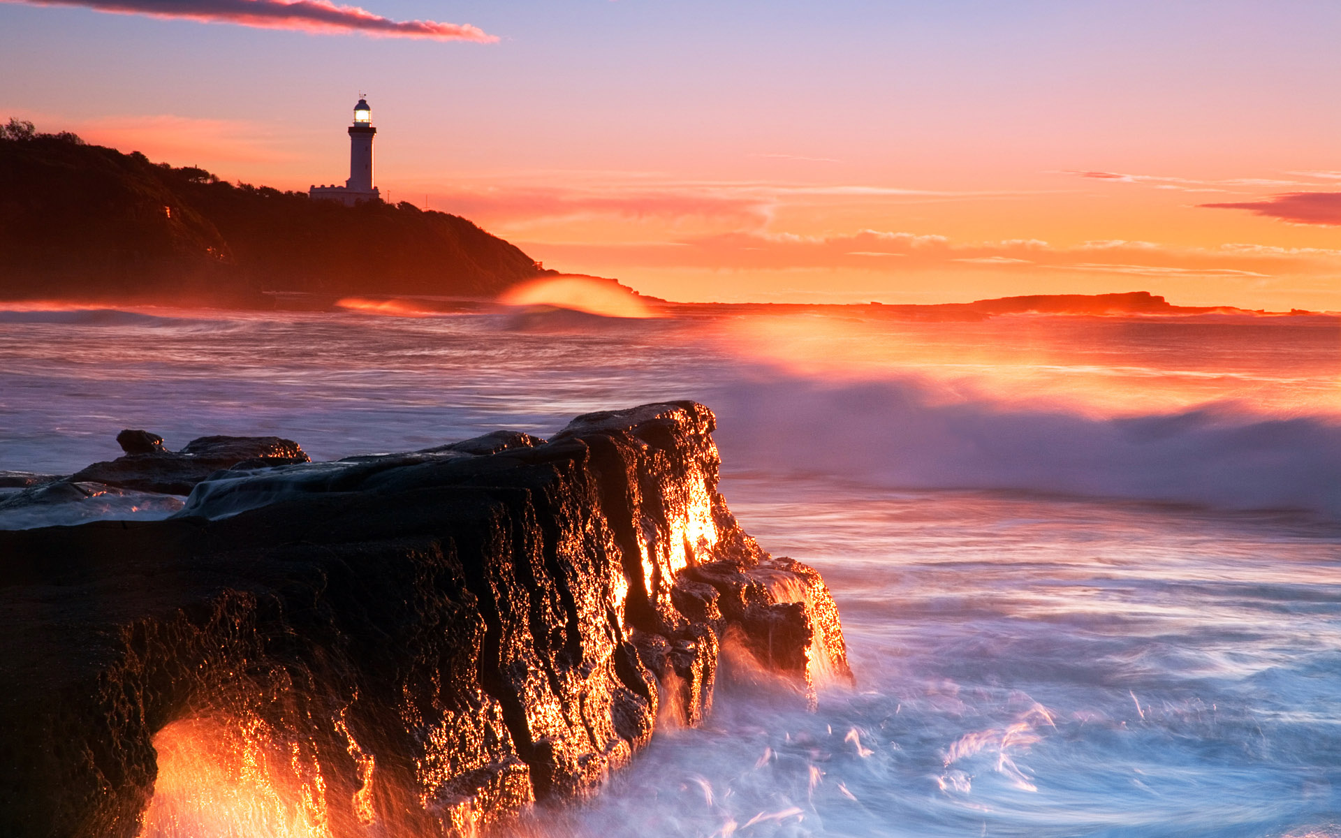 Man Made - Lighthouse  Orange Sunset Ocean Wave Coastline Wallpaper