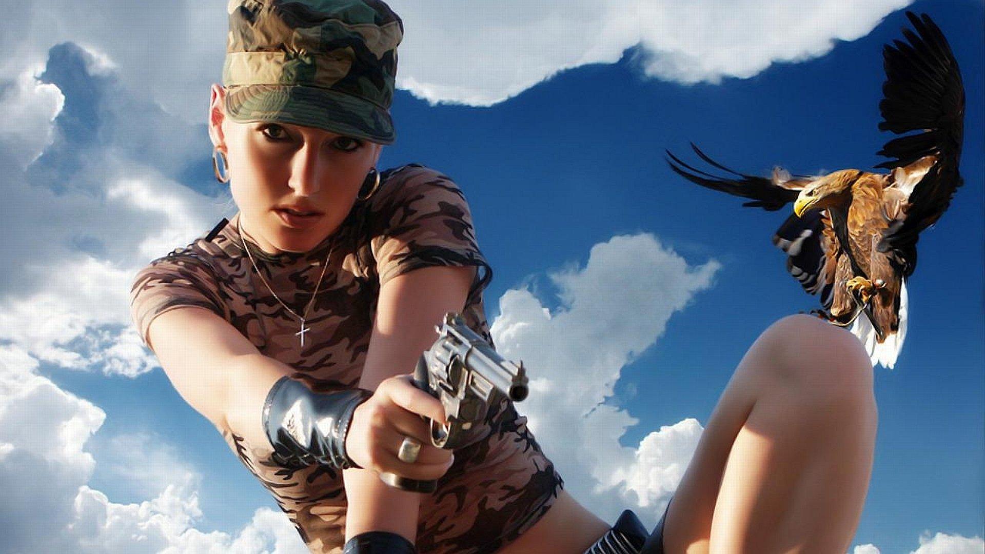 Girls  Guns Full Hd Wallpaper And Background Image -6050