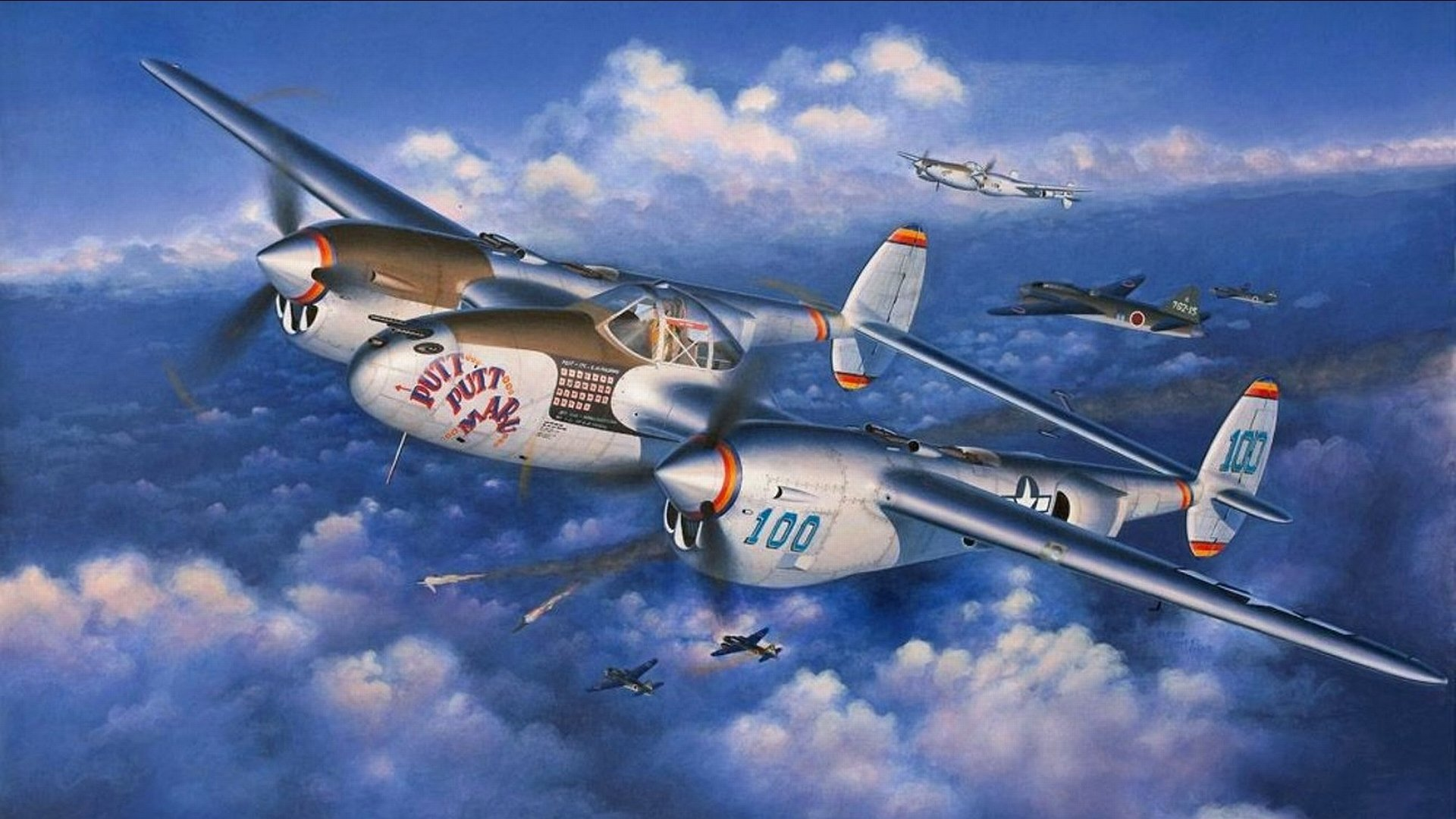 P 38 Lightning Wallpaper A squadron of P-38 Lig...